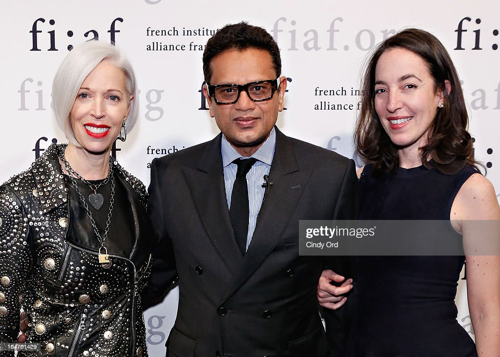 Senior VP, Fashion Office and Store Presentation of Bergdorf Goodman, Linda Fargo, fashion designer Naeem Khan and Chief Curator of Fashion and Textiles at Les Arts Decoratifs in Paris, Pamela Golbin attend Fashion Talks 2013 Presents: Naeem Khan at Florence Gould Hall on March 27, 2013 in New York City.