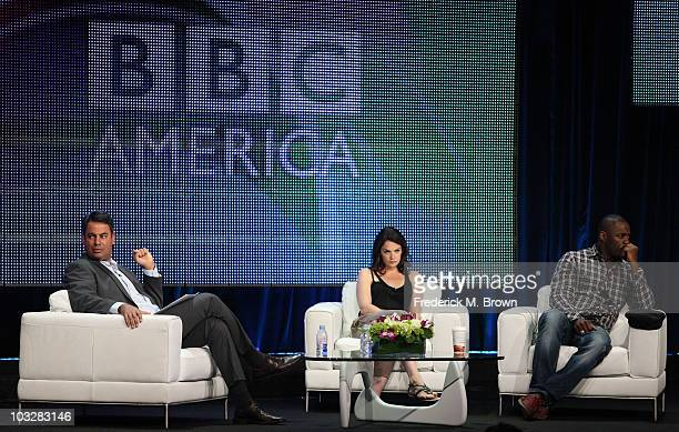 """Senior VP Programming BBC America Richard De Croce, Actress Ruth Wilson and Actor Idris Elba speak during the """"Luther"""" panel during the BBC America..."""