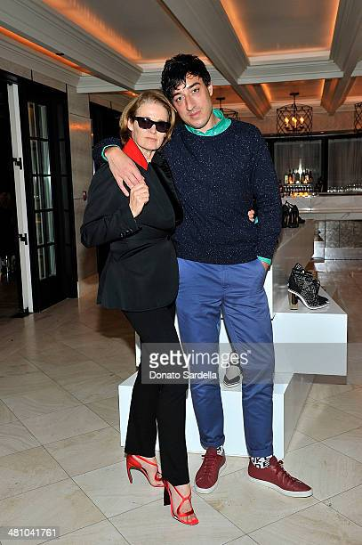 Senior west coast editor of Vogue Lisa Love and Ed Droste attend Nicholas Kirkwood dinner hosted by Emma Roberts and Jake Shears at Hotel BelAir on...