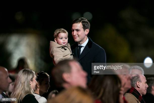Senior White House adviser Jared Kushner departs with his son Theodore Kushner during the 95th annual national Christmas tree lighting ceremony held...