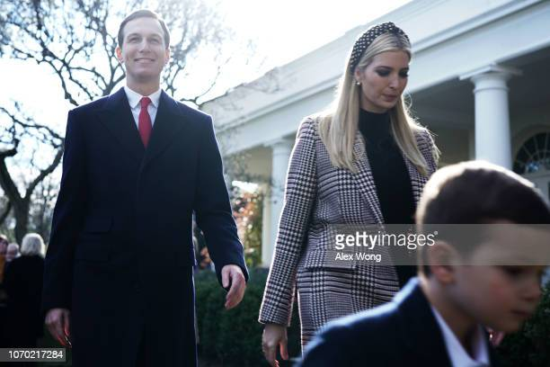 Senior White House adviser Jared Kushner his wife White House adviser and first daughter Ivanka Trump and their son Joseph Kushner leave after a...