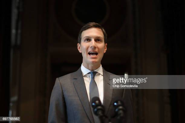 Senior White House adviser Jared Kushner the president's soninlaw leads the inaugural meeting of the American Technology Council in the Indian Treaty...