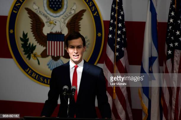 Senior White House Advisor Jared Kushner speaks on stage during the opening of the US embassy in Jerusalem on May 14 2018 in Jerusalem Israel US...