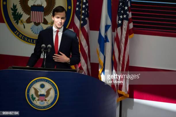Senior White House Advisor Jared Kushner speaks on stage during the opening of the US embassy in Jerusalem on May 14, 2018 in Jerusalem, Israel. US...
