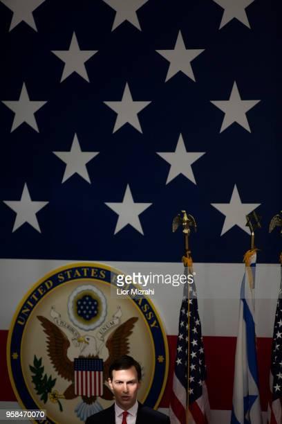 Senior White House Advisor Jared Kushner speaks on stage during the opening of the US embassy in Jerusalem on May 14 2018 in Jerusalem Israel US...