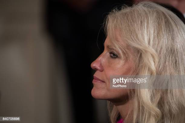Senior White House counselor Kellyanne Conway was present for the joint press conference of President Donald Trump and President Sauli Niinistö of...