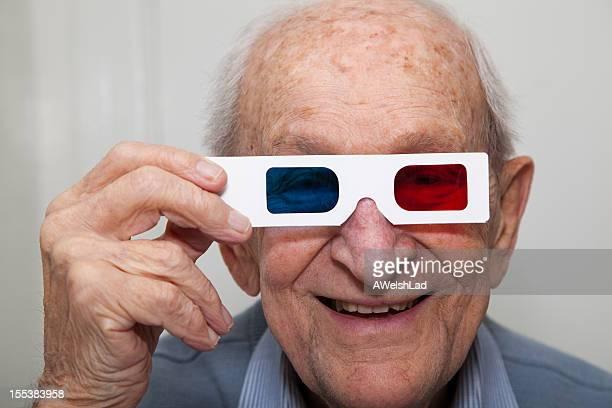 Senior with 3d glasses
