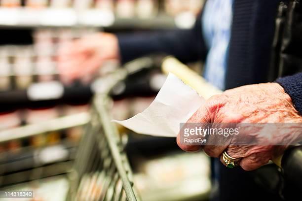 Senior with shopping list