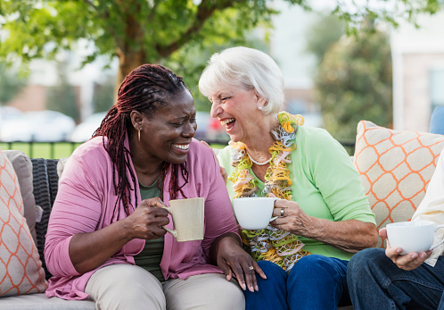 Senior woman, African-American friend laughing together 1138223885