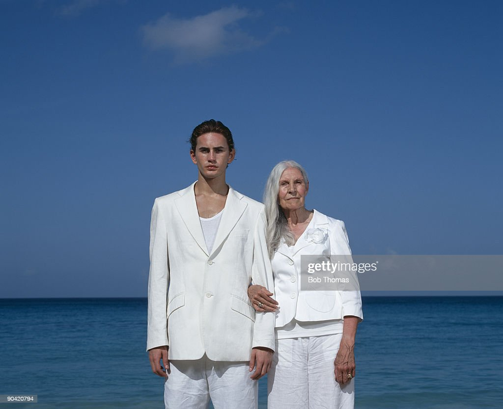 Senior Woman and Toy Boy : Stock Photo