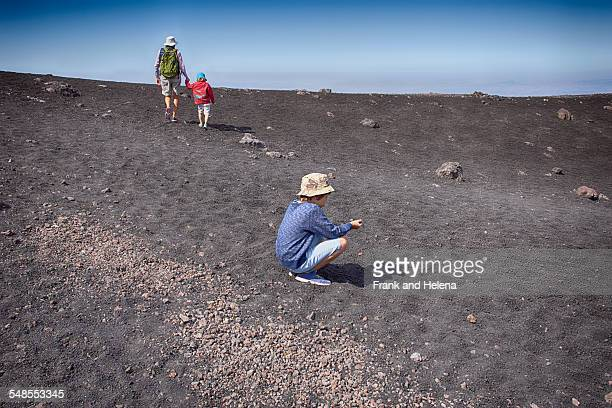 senior woman and two grandsons on mount etna, catania, sicily, italy - frank catania stock pictures, royalty-free photos & images