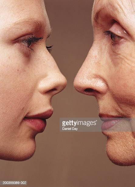 senior woman and young woman, facing each other, profile, close-up - angesicht zu angesicht stock-fotos und bilder
