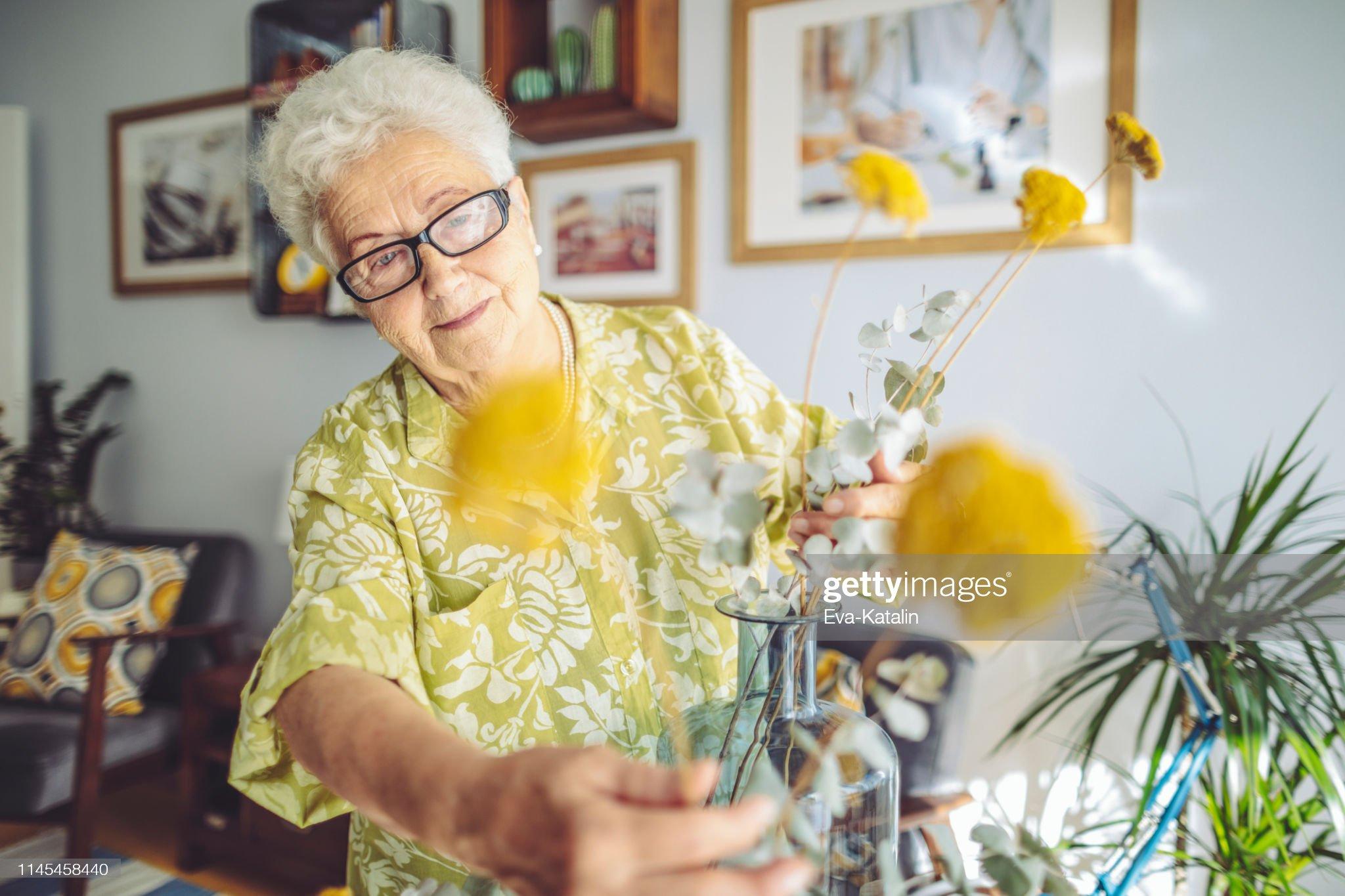 Senior woman at home : Stock Photo