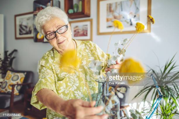senior woman at home - senior adult stock pictures, royalty-free photos & images