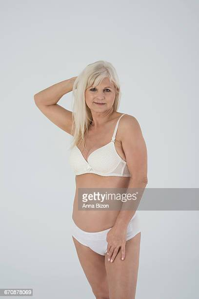 senior woman doesnt ashamed of her body. debica, poland - fat old lady stock photos and pictures