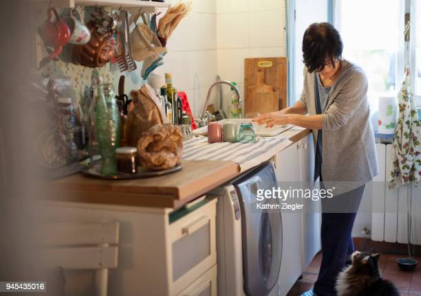 Senior woman doing dishes, cat looking up at her