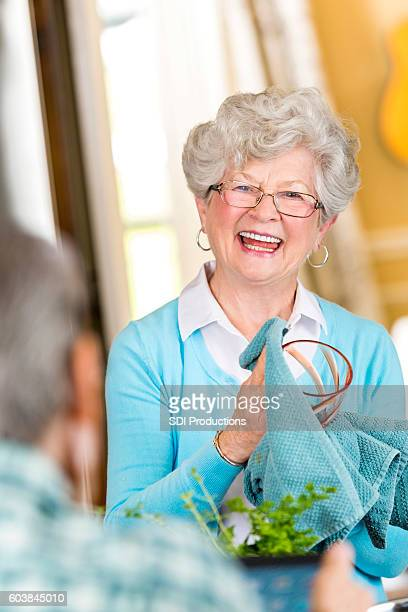 Senior woman dries dishes after a meal