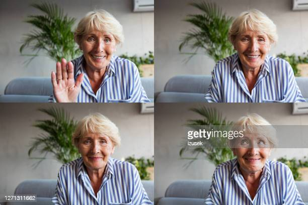 senior woman during video call - human face stock pictures, royalty-free photos & images