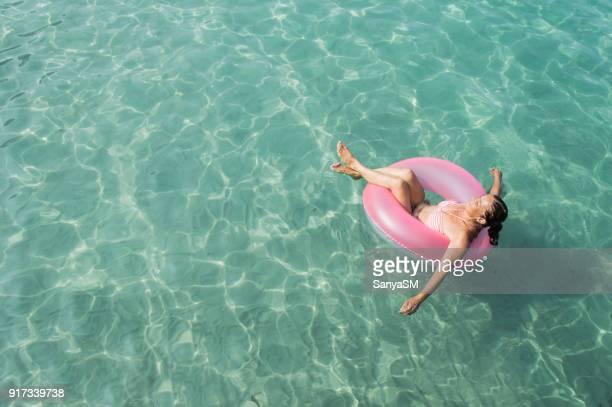 Senior woman enjoy sea water