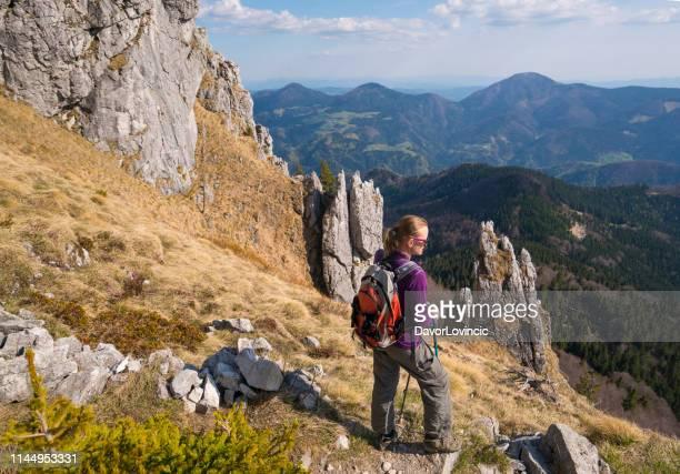 femme aînée appréciant la belle vue de la pente de ratitovec dans les alpes juliennes, slovénie - slovénie photos et images de collection