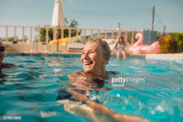 senior woman enjoying summer vacation - cyprus island stock pictures, royalty-free photos & images