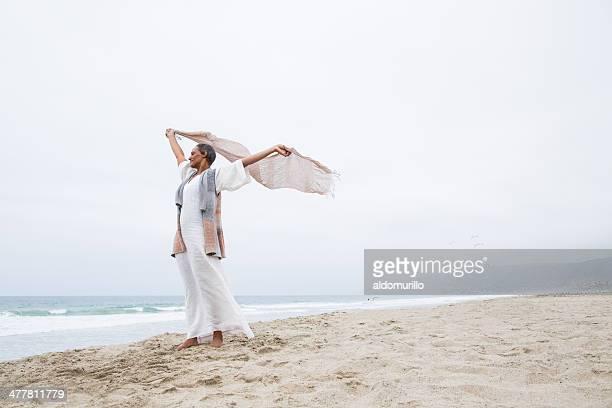 Senior woman enjoying the wind