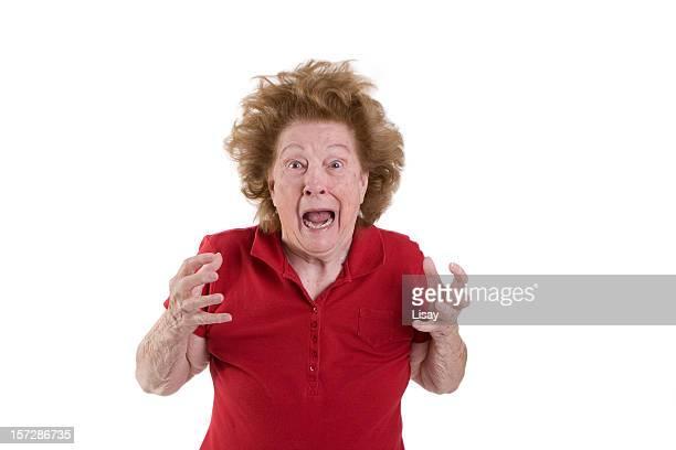 Senior woman frazzled