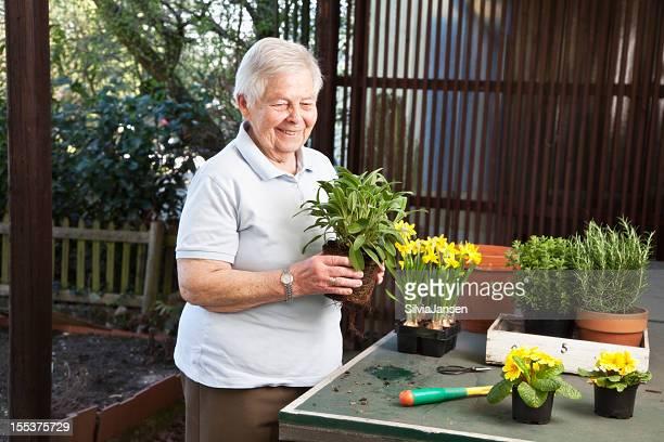 Mujer senior de jardinería en primavera
