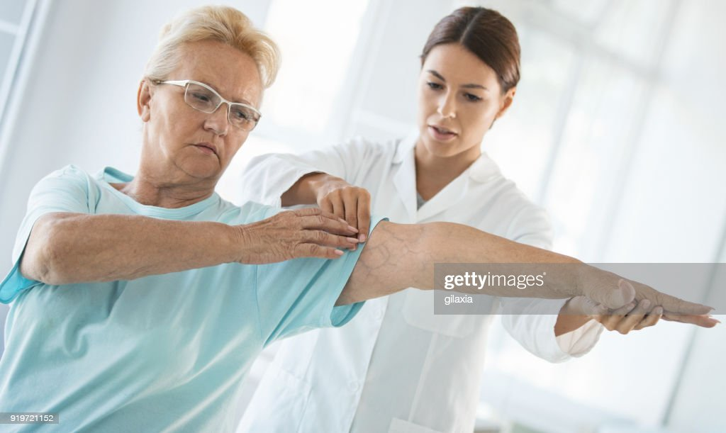 Senior woman having medical examination. : Stock Photo