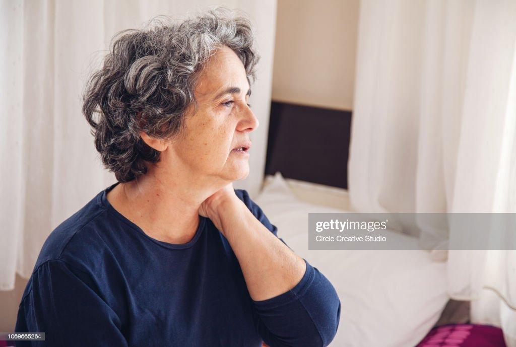 Senior Woman having pain and sickness : Stock Photo