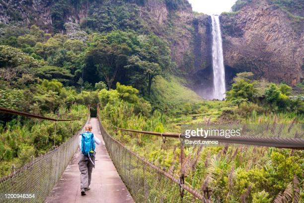 ブライダルベールの滝、エクアドルに向かう途中で橋の上をハイキングする上級女性 - エクアドル ストックフォトと画像