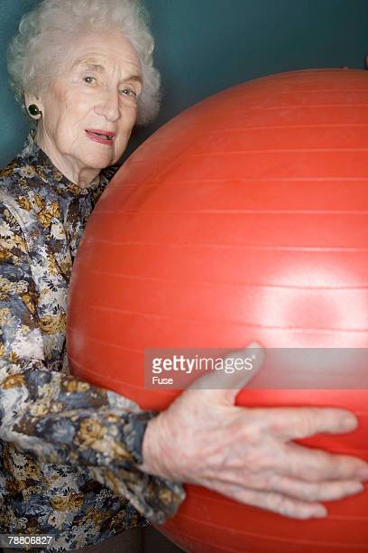 Senior Woman Holding Exercise Ball