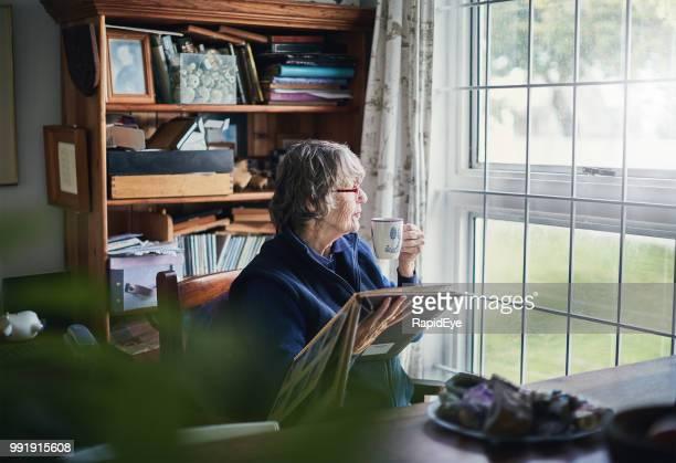 mujer senior con álbum de fotos los sorbos de té, mirando a través de la ventana - aislado fotografías e imágenes de stock