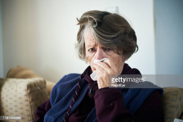 senior woman ill with cold or flu dabs her nose with a tissue - mucus stock pictures, royalty-free photos & images