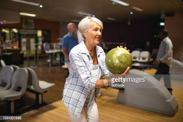 Senior Woman in Bowling Alley