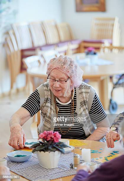 Senior woman in care home