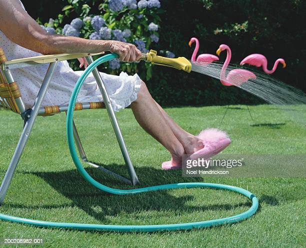 senior woman in lawn chair, watering grass, low section, side view - pink tube photos et images de collection
