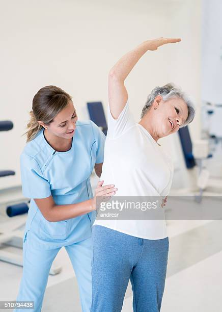 Senior woman in physiotherapy