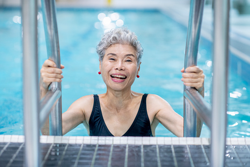 Senior Woman In Pool 1067881118