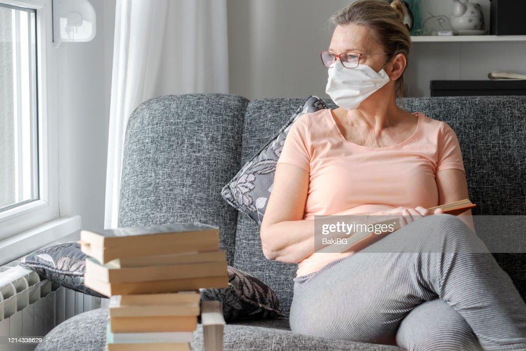 Senior woman in quarantine  from  Corona virus  at home : Stock Photo