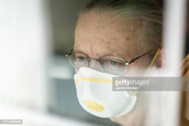 senior woman in quarantine of corona virus - masturbacion stock pictures, royalty-free photos & images