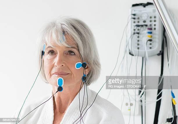 Senior woman in sleeping laboratory