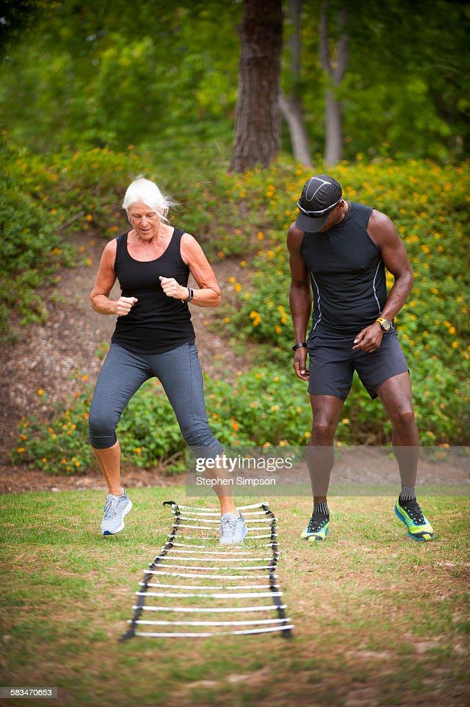 """senior"" woman, individual fitness coaching : Stock Photo"