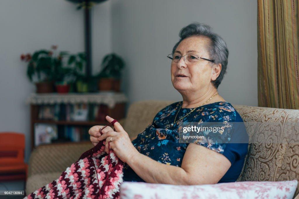 Senior Woman Knitting : Stock Photo