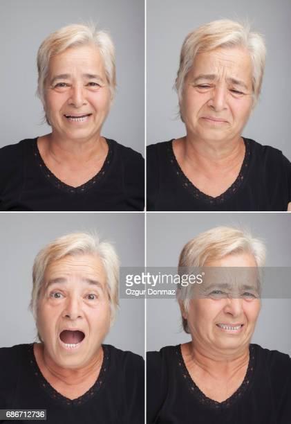 senior woman multiple expressions - afkeer stockfoto's en -beelden