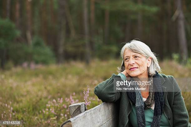 senior woman on bench looking away - 65 69 jahre stock-fotos und bilder