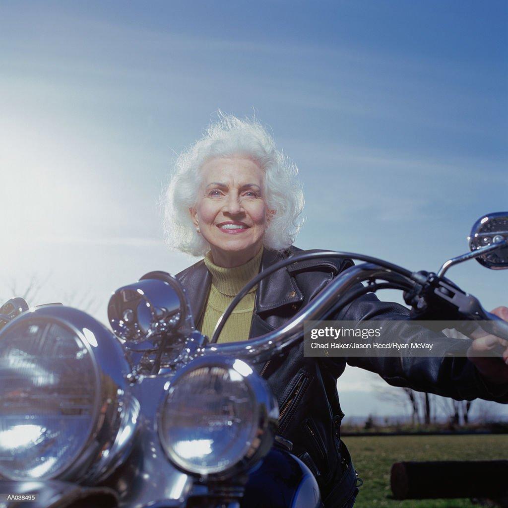 Senior Woman on Motorcycle : Stock Photo