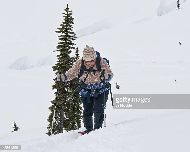 Senior Woman Snowshoing at Mount Rainier