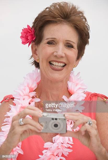 Senior woman on tropical vacation