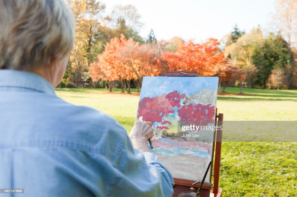 Senior woman painting outdoors : Stock Photo
